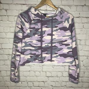 wild fable Tops - Wild Fable Purple Camo Cropped Sweatshirt